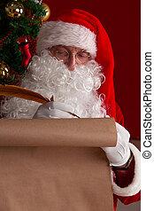 écriture, papier, vieux, claus, santa