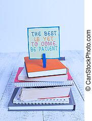 écriture, pince, après, business, encore, venir, obscurité, tas, blanc, dont, patient., lumière, perdre, empilé, texte, cahier, wooden., livres, épingle, mieux, espoir, être, concept, coloré, mot, rappel
