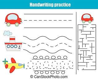 écriture, pratique, sheet., pédagogique, enfants, jeu