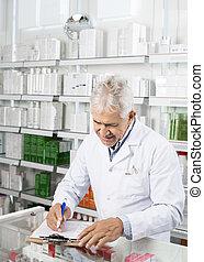 écriture, presse-papiers, chimiste, pharmacie