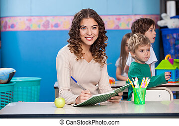 écriture, prof, livre, fond, jouer, enfants