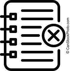 écriture, rejeté, cahier, style, contour, icône