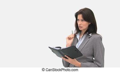 écriture, sérieux, femme affaires