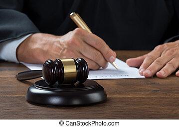 écriture, salle audience, papier, juge