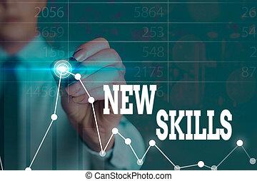 écriture, savant, mot, texte, nouveau, capacités, skills., ...