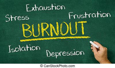 écriture, -, tableau, main, burnout