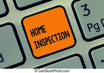 écriture, texte, écriture maison, inspection., concept, signification, examen, de, les, condition, de, a, maison, apparenté, propriété