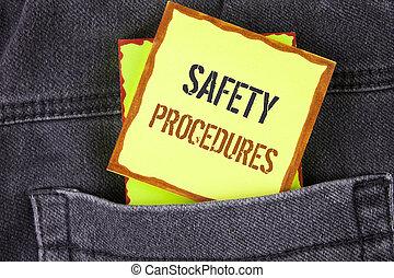 écriture, texte, écriture, sécurité, procedures., concept, signification, suivre, règles, et, règlements, pour, lieu travail, sécurité, écrit, sur, note collante, papier, placé, sur, les, jean, arrière-plan.