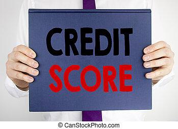 écriture, texte, projection, crédit, score., concept affaires, pour, financier, classement, enregistrement, écrit, sur, livre, papier cahier, tenue, par, les, homme, dans, complet, brouillé, arrière-plan.