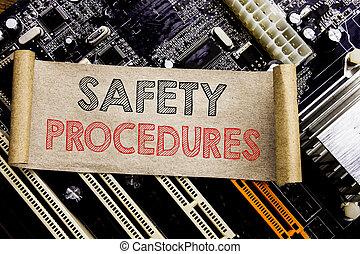 écriture, texte, projection, sécurité, procedures., concept affaires, pour, accident, risque, politique, écrit, sur, note collante, informatique, principal, planche, arrière-plan.