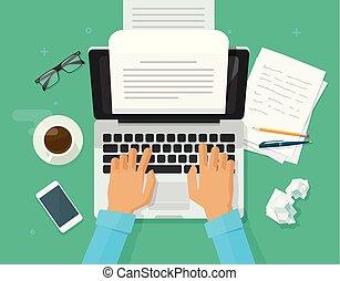 écriture, texte, sommet, illustration, personne, livre, vue, écrivain, vecteur, rédacteur, feuille, écrire, électronique, ordinateur portable, lettre, clipart, papier, dessin animé, informatique, plat, fonctionnement, auteur, journaliste, ou, journal