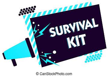 écriture, texte, survie, kit., concept, signification, équipement secours, collection, de, articles, aider, quelqu'un, porte voix, haut-parleur, bleu, trame rayée, important, message, parler, loud.