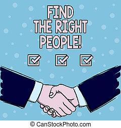 écriture, texte, trouver, les, droit, gens., concept, signification, choisir, parfait, candidat, pour, métier, ou, position.