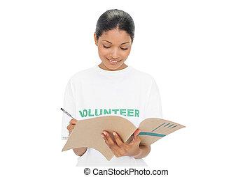 écriture, tshirt, porter, volontaire, modèle, gai