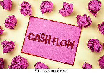 écriture, uni, compagnie, photo, cash-flow., département, note, finance, projection, virtuel, mouvement, collant, statistiques, balls., argent, papier, showcasing, fond, rose, business, écrit