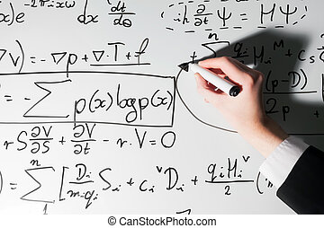 écriture, whiteboard, complexe, homme, formules, math