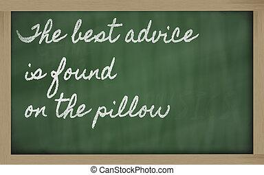 écritures, tableau noir, conseil, -, trouvé, écriture, oreiller, mieux