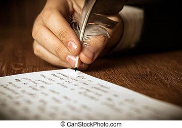 écrivain, écrit, a, stylo fontaine, sur, travail papier