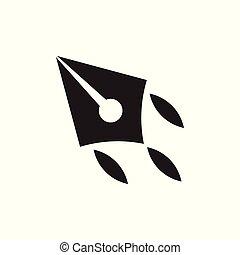 écrivain, avion, air, mouvement, stylo, vecteur, logo
