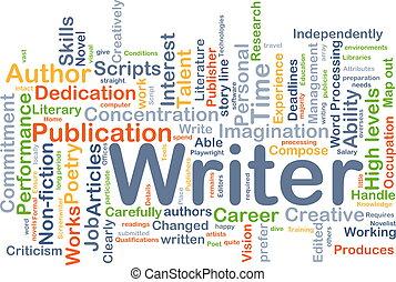 écrivain, fond, concept