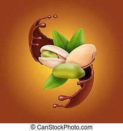 écrous pistache, chocolat, réaliste, vecteur, splash., 3d