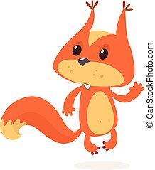 écureuil, patte, caractère, onduler, vecteur, dessin animé, rouges, illustration.