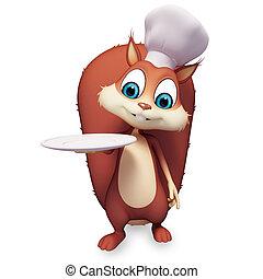 écureuil, plat