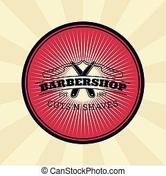 écusson, autocollant, rasoir, vendange, directement, signe, vecteur, salon coiffure