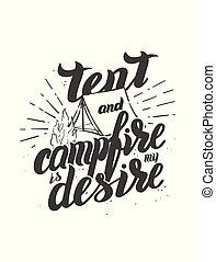 écusson, campfire., épingle, voyage, motivation, quote., main écrite, inspirationnel, impression, dessiné, lettering., ou, tente