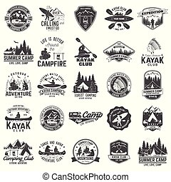 écusson, club, camping, ensemble, canoë, kayak