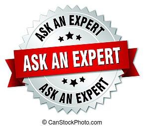 écusson, demander, rond, isolé, expert, argent