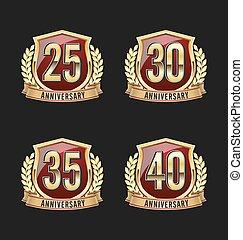 écusson, doré, anniversaire, 25e, rouges
