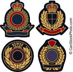 écusson, emblème, bouclier, royal
