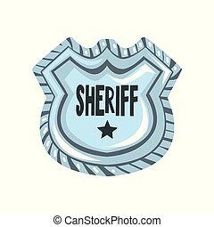 écusson, emblème, bouclier, shérif, justice, illustration, américain, vecteur, fond, blanc