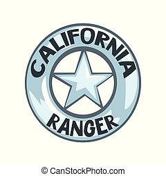 écusson, emblème, justice, illustration, garde forestier, américain, vecteur, californie, fond, blanc