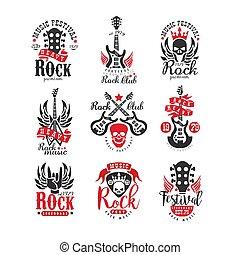 écusson, emblems., musique, festival, vendange, rocher, original, plat, étiquette, t-shirt, enregistrement, ou, vecteur, conception, collection, affiche, monochrome, impression, logo, studio.