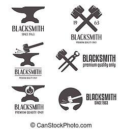 écusson, ensemble, emblème, logotype, éléments, étiquette, forgeron, logo