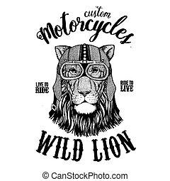 écusson, image, emblème, tatouage, main, t-shirt, lion, pièce, motocyclette, animal., sauvage, dessiné, motard, logo