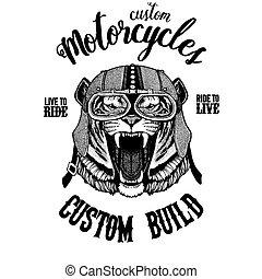 écusson, image, tigre, emblème, tatouage, main, t-shirt, pièce, motocyclette, animal., sauvage, dessiné, motard, logo