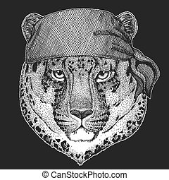 écusson, logo, animal, panthère, pirate, cat-o'-mountain, léopard, emblème, chat, t-shirt, motard, seawolf, motocyclette, patch., marin, sauvage, marin, bandana, image, tatouage, frais