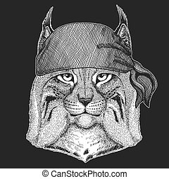 écusson, logo, marin, animal, t-shirt, image, lynx, emblème, chat, motard, seawolf, motocyclette, patch., marin, sauvage, lynx, bandana, frais, pirate, tatouage, trot