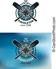 écusson, navigateur, emblème, ou, marin