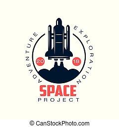 écusson, ou, emblème, fusée, espace, launch., résumé, symbole., plat, étiquette, adventure., vaisseau spatial, vecteur, exploration, logo, élément, style., autocollant