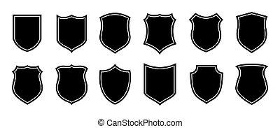 écusson, police, pièces, militaire, sécurité, bouclier, vecteur, fond, football, silhouettes., forme., isolé, blanc