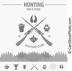 écusson, template., vecteur, equipment., logo, design., plat, chasse, illustration