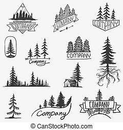 écusson, vecteur, arbre, isolé, ensemble, forêt