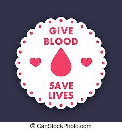 écusson, vecteur, donation, affiche, sanguine