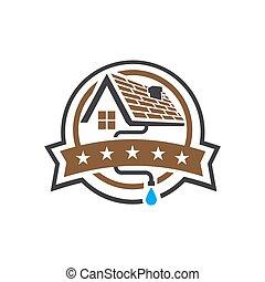 écusson, vecteur, gabarit, logo, conception, toit, maison, ...