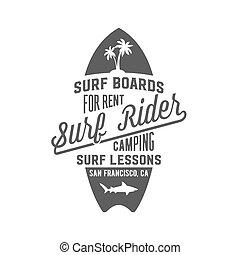 écusson, vendange, emblème, étiquette, surfer