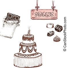 édesség, állhatatos, chocolate.
